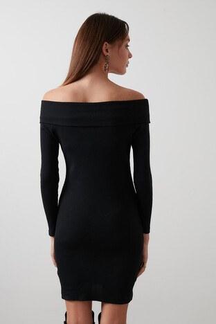 Lela Pamuklu Carmen Yaka Mini Bayan Elbise 59171332 SİYAH