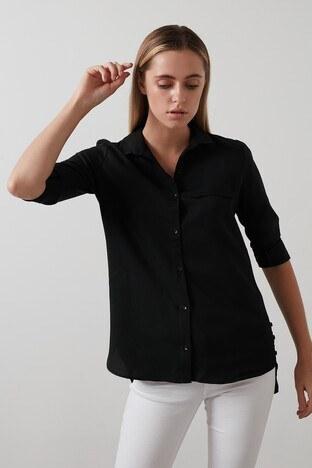 Lela - Lela Pamuklu Katlanabilir Uzun Kollu Bayan Gömlek 59119462 SİYAH