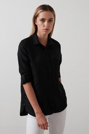 Lela Pamuklu Katlanabilir Uzun Kollu Bayan Gömlek 59119462 SİYAH
