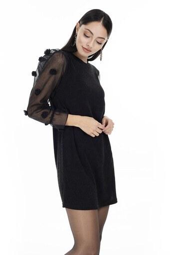 Lela Ponpon Detaylı Kolları Tül Mini Bayan Elbise 5202865 SİYAH