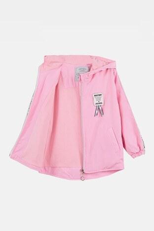 Lela Şerit Detaylı Kapüşonlu Cepli Kız Çocuk Yağmurluk 08582 PEMBE