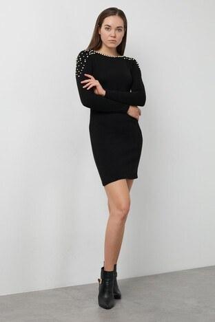 Lela Sırt Dekolteli İnci Detaylı Mini Bayan Elbise 5452037ES SİYAH