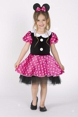 Lela - Lela Taçlı Puantiyeli Minnie Mouse Kız Çocuk Elbise 5805054 SİYAH-PEMBE