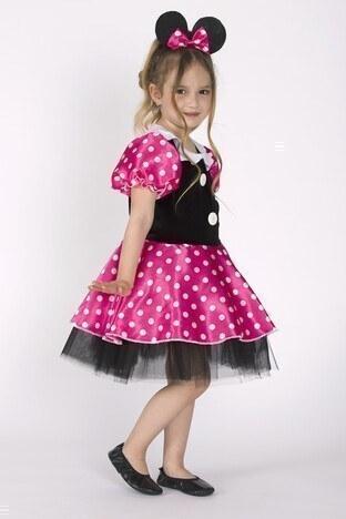 Lela Taçlı Puantiyeli Minnie Mouse Kız Çocuk Elbise 5805054 SİYAH-PEMBE