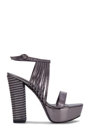 Lela - Lela Topuklu Bayan Abiye Ayakkabı 50872 PLATİN