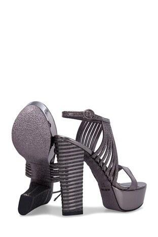 Lela Topuklu Bayan Abiye Ayakkabı 50872 PLATİN