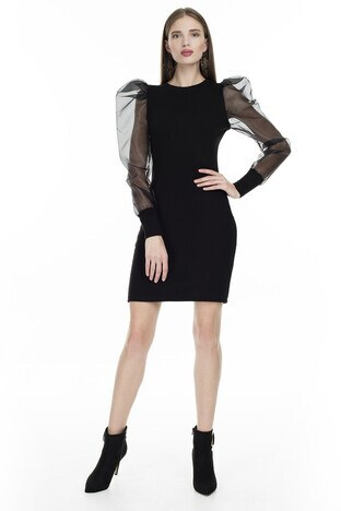 Lela - Lela Tül Detaylı Bayan Elbise 54520102V SİYAH