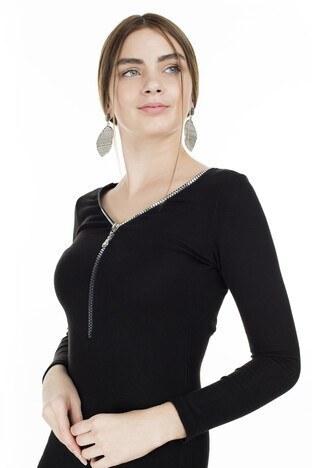 Lela Tül Detaylı Fermuarlı V Yaka Bayan Elbise 545VS153 SİYAH