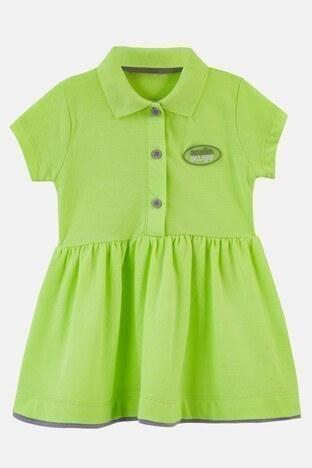Lela - Lela Düğmeli Polo Yaka Pamuklu Unisex Çocuk Elbise 08805 NEON-SARI