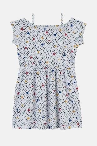 Lela - Lela Desenli Askılı Geniş Yaka Pamuklu Unisex Çocuk Elbise 5992427 EKRU-SİYAH