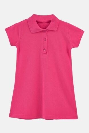 Lela - Lela Düğmeli Polo Yaka Pamuklu Unisex Çocuk Elbise 6032424 FUŞYA