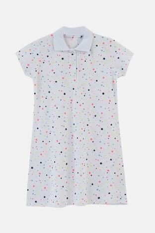 Lela - Lela Yıldız Baskılı Düğmeli Polo Yaka Pamuklu Unisex Çocuk Elbise 60490100 BEYAZ