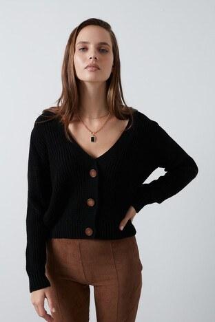 Lela V Yaka Düğmeli Soft Akrilik Triko Bayan Hırka 4615022 SİYAH