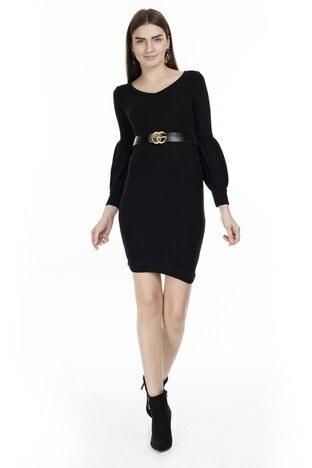 Lela - Lela V Yaka Örme Bayan Elbise 54520103ES SİYAH