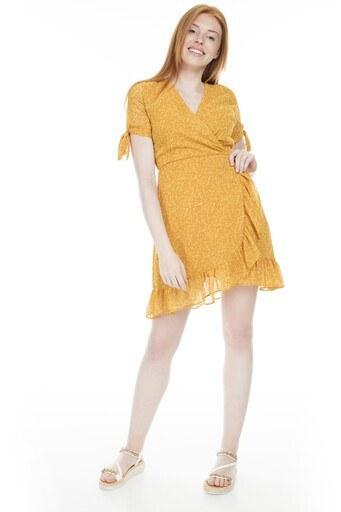 Lela Volanlı Mini Bayan Elbise 23430976 HARDAL