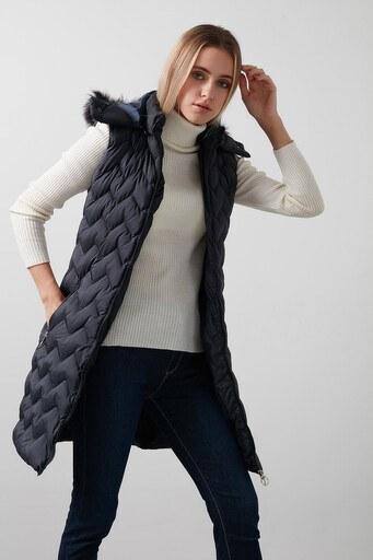 Lela Yakası Suni Kürklü Çıkarılabilir Kapüşonlu Slim Fit Uzun Şişme Ye Bayan Yelek 5761080 LACİVERT