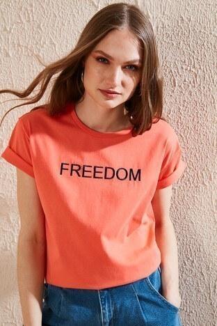 Lela - Lela Bayan T Shirt 6001000 NAR ÇİÇEĞİ