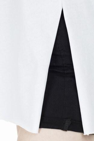 Lela Yırtmaç Detaylı V Yaka Bayan T Shirt 5411062H BEYAZ
