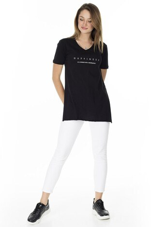 Lela Yırtmaç Detaylı V Yaka Bayan T Shirt 5411062H SİYAH