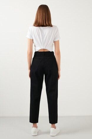 Lela Yüksek Bel % 100 Pamuk Mom Jeans Bayan Kot Pantolon 5873041 SİYAH