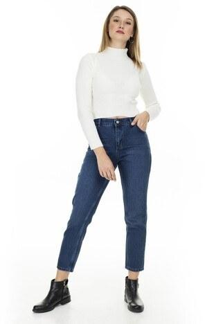 Lela - Lela Yüksek Bel % 100 Pamuklu Mom Jeans Bayan Kot Pantolon 5873042 MAVİ