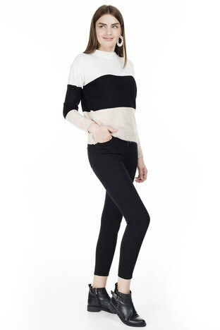 Lela Yüksek Bel Dar Kesim Jeans Bayan Kot Pantolon 8523T768MARTHA Siyah