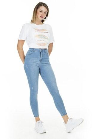Lela - Lela Yüksek Bel Skinny Pamuklu Jeans Bayan Kot Pantolon 58713261 KOYU BUZ