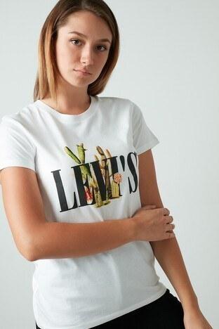 Levis % 100 Pamuklu Baskılı Bisiklet Yaka Bayan T Shirt 17369-1090 EKRU