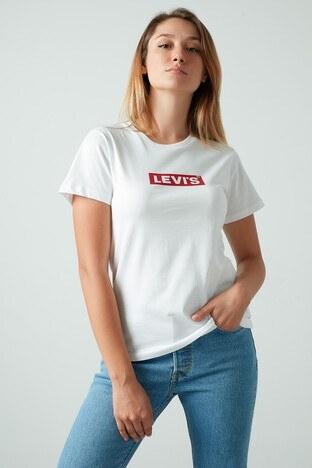 Levis % 100 Pamuklu Baskılı Bisiklet Yaka Bayan T Shirt 17369-1329 BEYAZ