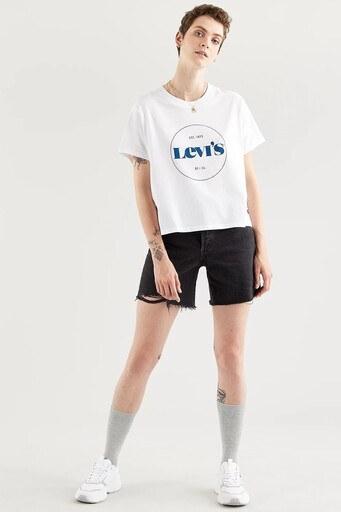 Levis % 100 Pamuklu Boxy Fit Bisiklet Yaka Bayan T Shirt 69973-0158 BEYAZ