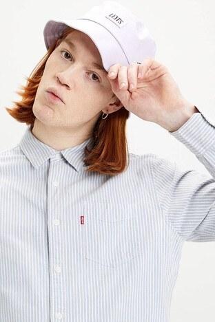 Levis % 100 Pamuklu Çizgili Tek Cepli Uzun Kollu Erkek Gömlek 85746-0015 AÇIK MAVİ