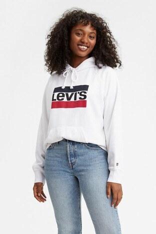 Levi's - Levis % 100 Pamuklu Logo Baskılı Kanguru Cepli Kapüşonlu Örme Bayan Sweat 35946-0001 BEYAZ