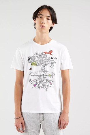 Levis % 100 Pamuklu Regular Fit Bisiklet Yaka Erkek T Shirt 22491-0831 BEYAZ