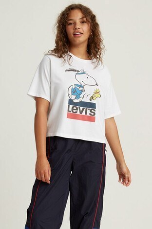 Levis % 100 Pamuklu Snoopy Baskılı Bisiklet Yaka Bayan T Shirt 85634-0040 BEYAZ