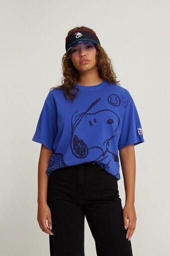Levis % 100 Pamuklu Snoopy Baskılı Oversize Bayan T Shirt 56152-0004 SAKS
