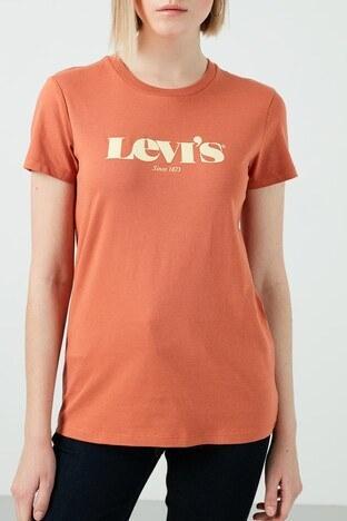 Levis Baskılı Bisiklet Yaka % 100 Pamuk Bayan T Shirt 17369-1447 KİREMİT