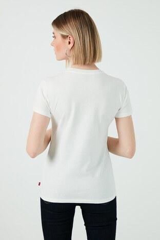 Levis Baskılı Bisiklet Yaka % 100 Pamuk Bayan T Shirt 17369-1510 BEYAZ