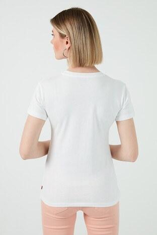 Levis Baskılı Bisiklet Yaka % 100 Pamuk Bayan T Shirt 17369-1512 BEYAZ