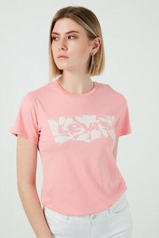 Levi's - Levis Baskılı Bisiklet Yaka % 100 Pamuk Bayan T Shirt 17369-1515 PEMBE