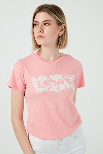 Levis Baskılı Bisiklet Yaka % 100 Pamuk Bayan T Shirt 17369-1515 PEMBE