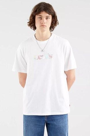 Levis Baskılı Bisiklet Yaka % 100 Pamuk Erkek T Shirt 16143-0081 BEYAZ