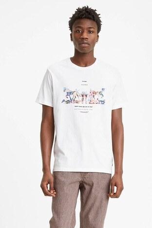 Levis Baskılı Bisiklet Yaka % 100 Pamuk Erkek T Shirt 22495-0065 BEYAZ