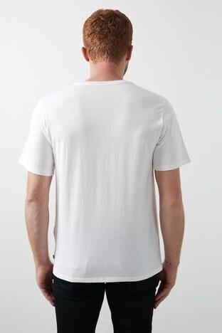 Levis Baskılı Bisiklet Yaka % 100 Pamuk Erkek T Shirt 69978-0135 KREM