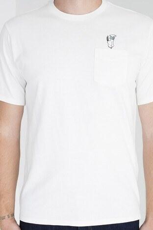 Levis Baskılı Bisiklet Yaka Cep Detaylı Pamuklu Erkek T Shirt 34310-0013 KREM