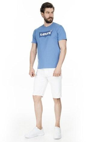 Levis Baskılı Bisiklet Yaka Erkek T Shirt 22489-0275 MAVİ