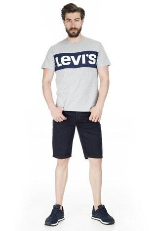 Levis Baskılı Bisiklet Yaka Erkek T Shirt 79655-0003 GRİ-LACİVERT