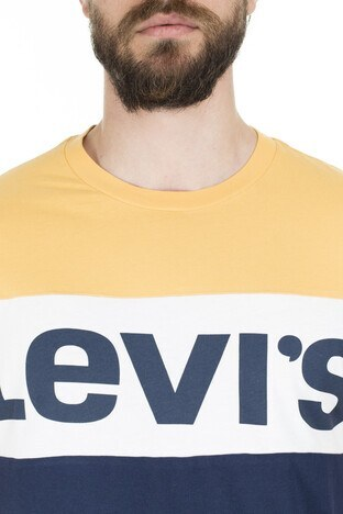 Levis Baskılı Bisiklet Yaka Erkek T Shirt 79655-0004 SARI-LACİVERT