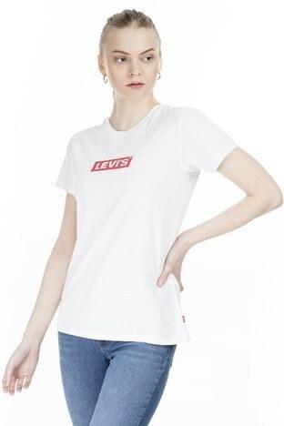 Levis Baskılı Bisiklet Yaka Bayan T Shirt 17369-0903 BEYAZ
