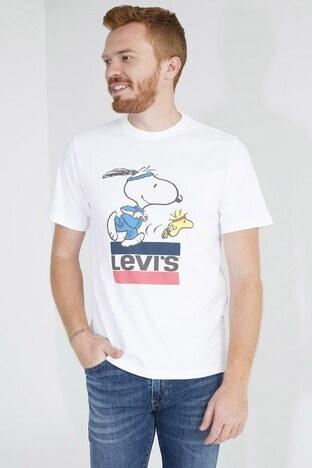 Levis Baskılı Bisiklet Yaka Rahat Kesim Erkek T Shirt 161430080 BEYAZ