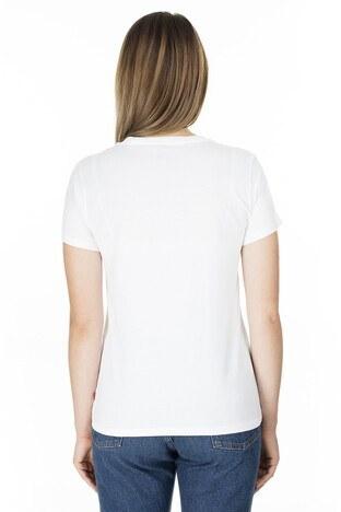 Levis Baskılı Bisiklet Yaka Regular Fit Kadın T Shirt 17369-0875 BEYAZ